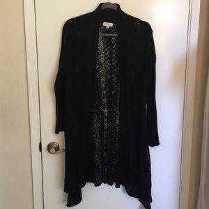 Long open front black cardigan